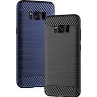 For Samsung Galaxy S8 Case Carbon Fiber Texture Back Cover S...