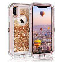 For Iphone XS XR Case Liquid Quicksand Glitter Bling Back Co...