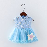 2018 summer baby girls dress clothes chinese style flower pr...