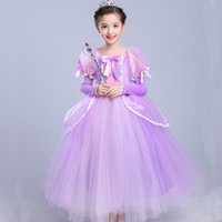 Girls Rapunzel Princess Dress Up Cosplay Costume Kids Puff S...