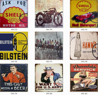 Tin Signs Collection Motorcycle Beer Route 66 Vintage Wall A...