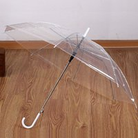 Fashion Transparent Umbrellas Long Handle Straight Stick Fem...