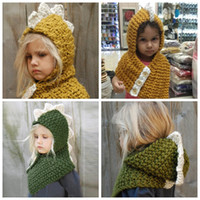 Children Dinosaur Knitted Caps Beanies Scarf 2 in 1 Cartoon ...