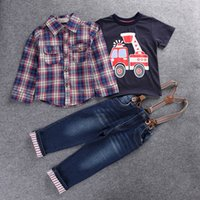 Kids Clothing Boys Checked Shirt + T- shirt + Jeans 3 pieces ...