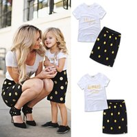 Mother and Daughter Clothes Letter Short Sleeve T- shirt + Do...