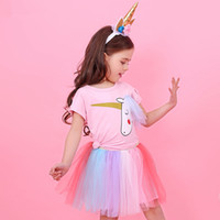 Ins Baby Girls Dress Cartoon Unicorn Pink T shirt Top Lace R...
