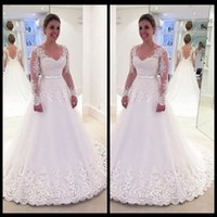 2019 Mordest Long Sleeve Vintage Lace Wedding Dresses Sexy V...