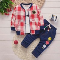 2018 baby boys clothing sets 3pcs coat+ tops+ trousers suit be...