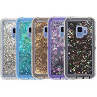 For Samsung S9 Case 3in1 Liquid Glitter Quicksand Defender P...