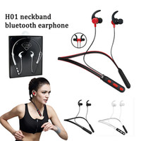 H01 magnetic neckband in ear headphones stereo wireless blue...