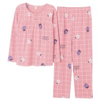 Fresh fruit floral print pajama sets women 100% knitted cott...