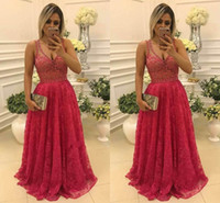 2018 Latest V- neck Long Prom Dresses Appliques Beaded Lace Z...