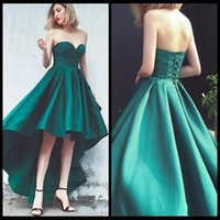 Simple Green Short Front Long Back Prom Dresses Sweetheart L...