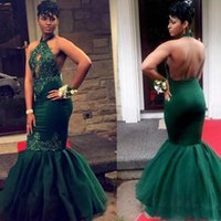 Amazing Black Girls Dark Green Prom Dresses Long Appliques M...