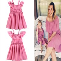 Mother and Daughter Clothes Women Pink Braces Dress Parent- C...