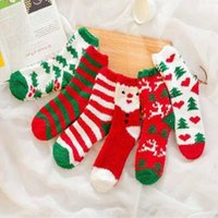 6 Styles Winter Socks Christmas Claus Striped Coral Fleece W...