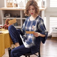 J&Q new women home wear pijama cotton warm pajamas woman clo...