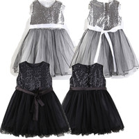 Girls Black Sequin Dresses TUTU Skirts Girl Performance Stag...