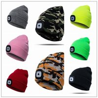 17 Colors LED Light Hat Battery Type Winter Beanies Fishing ...
