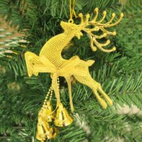 Gold Sliver Reindeer Christmas Tree Hanging Bauble Ornament ...