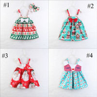 Girls Ins Christams Little Deer Print Dress Bowknot Santa Cl...
