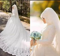 2019 Latest Muslim Wedding Dresses A Line Lace Appliques Hig...