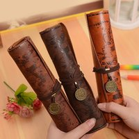 New 4 Style Vintage Treasure Map Pencil Case Roll Faux Leath...