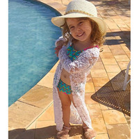 Baby Girs Sunscreen Cardigan Beach Lace Floral Long Coat Ins...