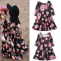 Mother and Daughter Clothes Women Long Sleeve Flower Dress P...