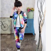 Kids tracksuit 2018 Autumn Winter girl sport suit Coat+ Pants...