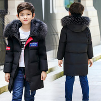 Children Winter Down Coat 2018 Hooded Fur Collar Long Style ...