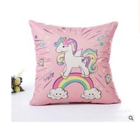 Pillow Cases Home Decorative Unicorn Flax Cartoon Square Pil...