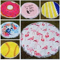 Flamingo Beach Towel Baseball Softball Tapestry Round Tablec...