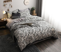Cotton 4 Pcs Bedding Set Leopard Print Grid Duvet Cover Set ...