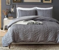 Grey 3 Pcs Bedding Set Drape Duvet Cover Bedsheet with Two P...