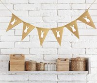 Easter Banner Flags Rabbit Printed Banner Flag vintage Weddi...