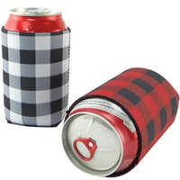 Neoprene Can Sleeves Plaid Beverage Coolers With Bottom Beer...