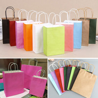 Kraft Paper Bag Portable Candy Color Gift Bag With Handles S...