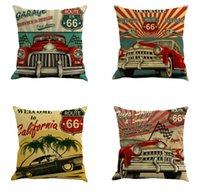 Linen Pillow Case Route 66 Vintage Style Cushion Cover Throw...