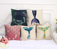 Linen Mermaid Tail Printed Pillow Case Decorative Pillow Cas...
