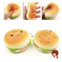 10cm Cute Jumbo Soft Squishy Smile Bread Hamburger Charms Sl...