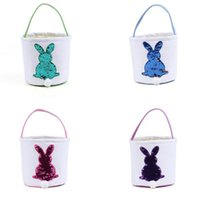 Sequin Canvas Rabbit Easter Baskets Storage Tote Hand Carryi...