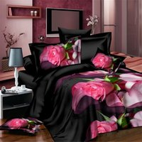 Wholesale cotton print sheets for sale - Sexy Black Floral Printed Bedding set King Size Duvet Cover Bed Sheet Pillowcase Set Fresh Cotton Wedding Bedclothes
