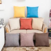 Wholesale Top quality Pillowcase Solid Color Cotton Linen Square Design Throw Pillow Case Cushion Cover Decor Pillow Case Blank Christmas Decor Gift