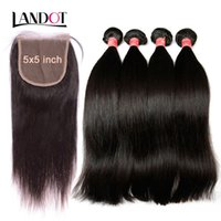 Wholesale ombre hair online - Grade A Brazilian Peruvian Malaysian Indian Virgin Human Hair Weaves Bundles With Lace Closures x5inch Straight Cambodian Mink Remy Hair