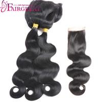 Wholesale braid in' bundles online - Fairgreat New arrive Braid In human hair Bundles Straight Body Wave Human Hair Weave with lace closure Virgin Hair Extension