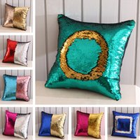 Wholesale Sequins Mermaid Pillow Case Cover Home Textiles Decoration Sofa Car Cushion Decorative Cover Cotton cm Styles T1I1124