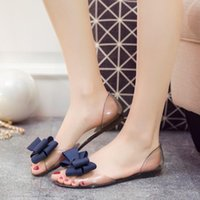 Wholesale woman sandals for sale - 2019 summer new bow wild fish mouth sandals female crystal jelly flat shoes sweet transparent pregnant women tide shoes