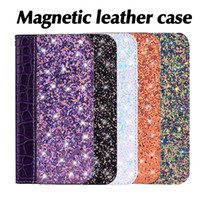 Wholesale wallet case for sale - Magnetic Bling Wallet Case Crocodile Leather Glitter Flip Cover Card Holder Kickstand for iPhone X XS MAX XR SamsungS8 S9 OPP Bag