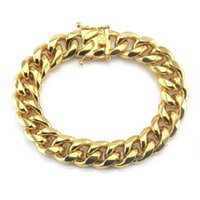 Wholesale Europe and America Iced Out Man Guban Bracelet Hip Hop gold chain for man Jewelry new mens Bracelets alloy High grade jewelry